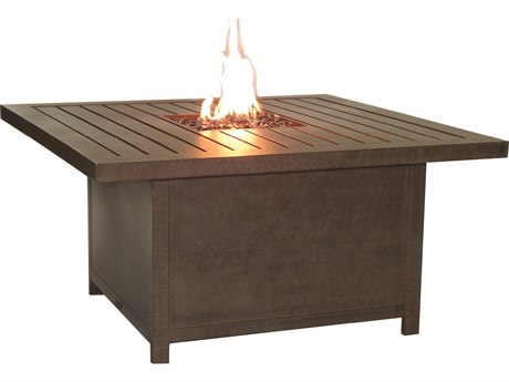 Castelle Moderna Cast Aluminum 52 x 36 Rectangular Coffee Table with Firepit and Lid