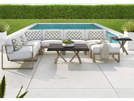 Castelle Park Place Sectional Cast Aluminum Lounge Set