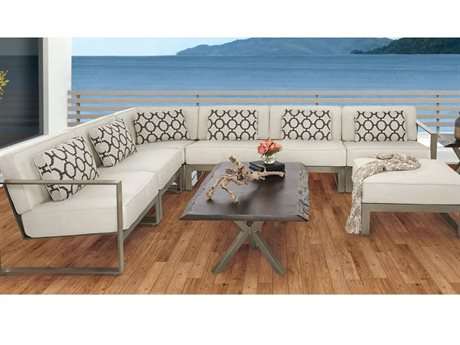 Castelle Park Place Cast Aluminum Sectional Set