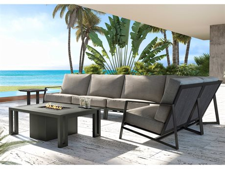 Castelle Prism Sectional Seating Aluminum Fire Pit Lounge Set