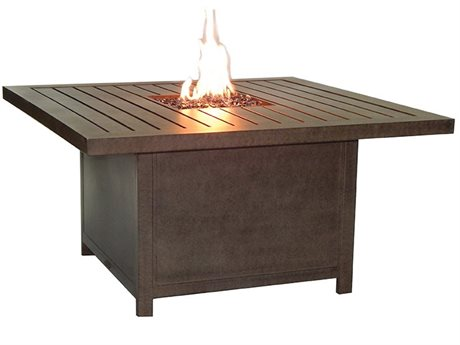 Castelle Moderna Cast Aluminum 44 Square Coffee Table w/ Firepit And Lid