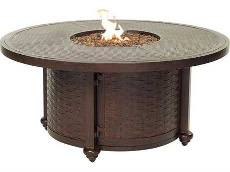 Castelle French Quarter Cast Aluminum 49 Round Coffee Table with Firepit and Lid