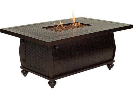 Castelle French Quarter Cast Aluminum 52W x 33.5-36D Rectangular Coffee Table with Firepit and Lid