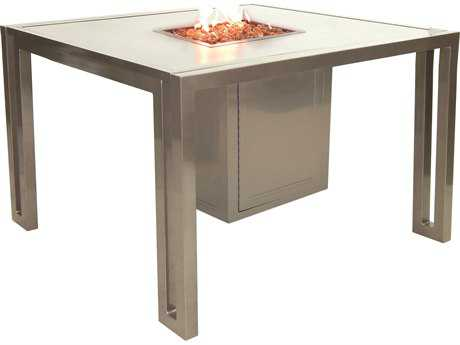 Castelle Icon Cast Aluminum 44 Square Dining Table Firepit and Lid