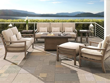 Castelle Roma Deep Seating Aluminum Fire Pit Lounge Set