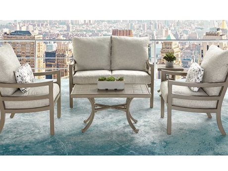 Castelle Roma Cushion Dining Aluminum Conversation Lounge Set