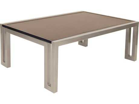 Castelle Icon Cast Aluminum 48-50W x 32-35.5D Rectangular Coffee Table PFRRC3248