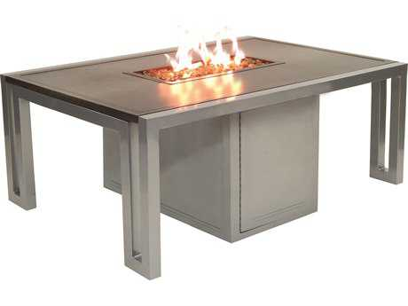 Castelle Icon Cast Aluminum 50 x 32 Rectangular Firepit Coffee Table and Lid PFRRF32WL