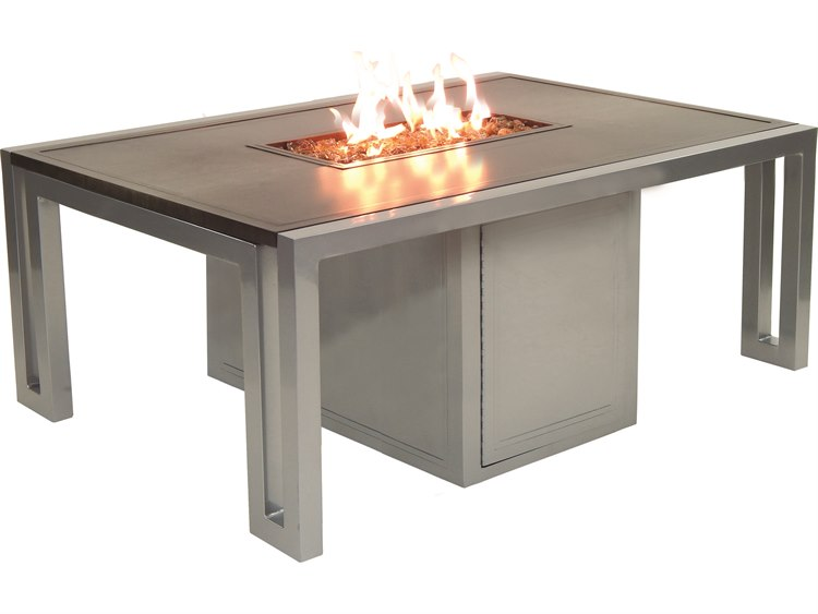 Good Castelle Icon Cast Aluminum 50 X 32 Rectangular Firepit Coffee Table And  Lid   RRF32WL