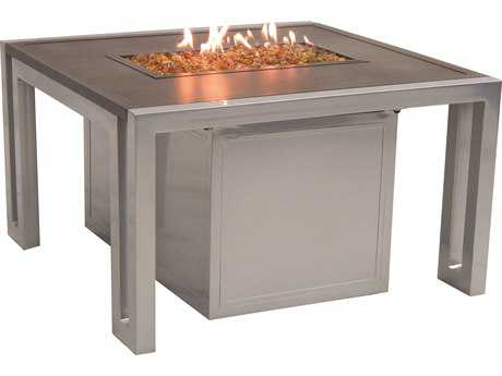 Castelle Icon Firepit Cast Aluminum 32 Square Coffee Table with Lid