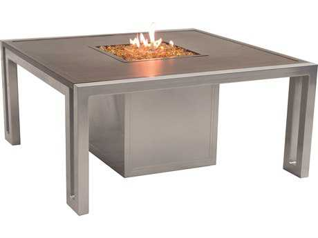 Castelle Icon Firepit Cast Aluminum 44 Square Coffee Table with Lid
