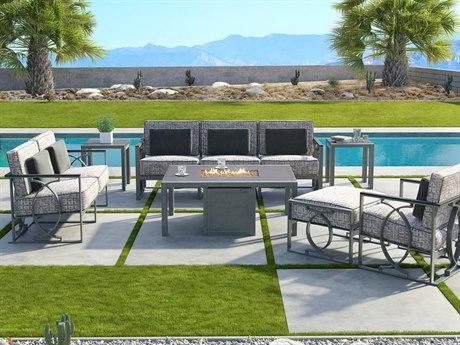 Castelle Sunrise Deep Seating Cast Aluminum Fire Pit Lounge Set