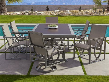 Castelle Sunrise Sling Cast Aluminum Dining Set