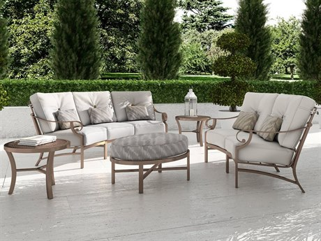 Castelle Sonesta Deep Seating Cast Aluminum Curved Lounge Set