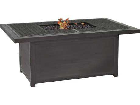 Castelle Altra Firepit Aluminum 52 x 36 Rectangular Classical Coffee Table with Firepit and Lid