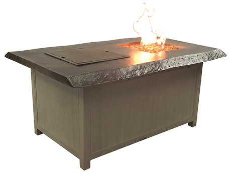 Castelle Altra Firepit Aluminum 52 x 36 Rectangular Fire and Ice Coffee Table and Lid