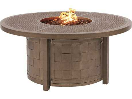 Castelle Classical Cast Aluminum 49 Round Coffee Table with Firepit And Lid