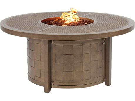 Classical Cast Aluminum 49 Round Coffee Table with Firepit And Lid