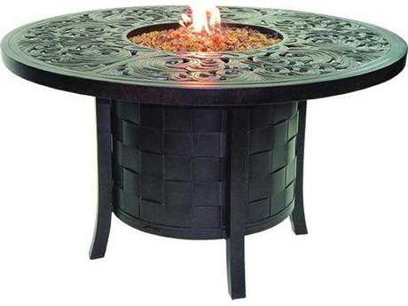 Castelle Classical Cast Aluminum 49 Round Dining Table with Firepit and Lid