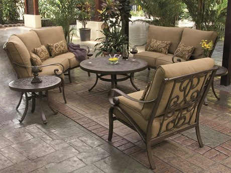 Castelle Veracruz Deep Seating Cast Aluminum Curved Lounge Set