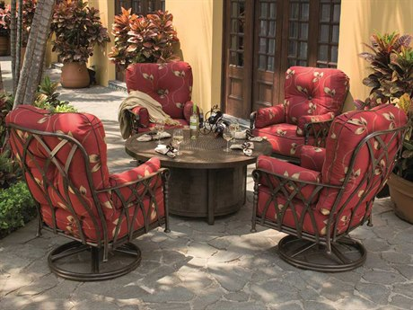 Castelle Veranda Deep Seating Cast Aluminum Firepit Set