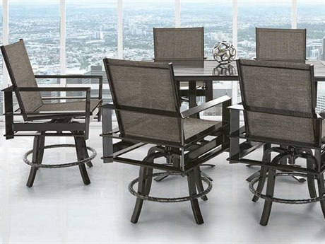 Castelle Vertice City Sling Dining Aluminum Casual Patio Set PFVERTICECSLNGBALSET