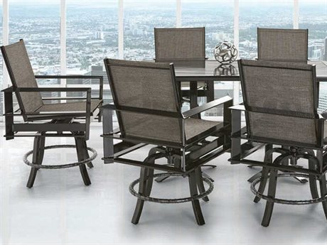 Castelle Vertice City Sling Dining Aluminum Casual Patio Set