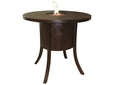 Castelle Classical Cast Aluminum 49 Round Bar Table with Firepit and Lid