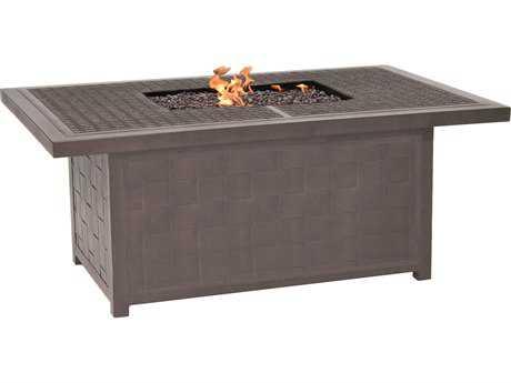Castelle Classical Cast Aluminum 52 x 36 Rectangular Coffee Table with Firepit and Lid