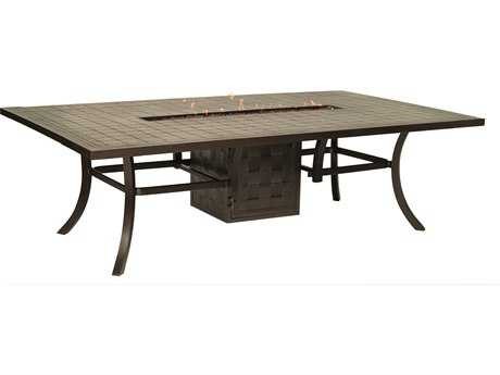 Castelle Classical Cast Aluminum 96 x 64 Rectangular Dining Table with Firepit and Lid