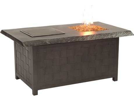 Castelle Classical Firepits Aluminum 52 x 36 Rectangular Fire and Ice Coffee Table and Lid