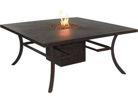 Castelle Classical Cast Aluminum 64 Square Dining Table with Firepit and Lid