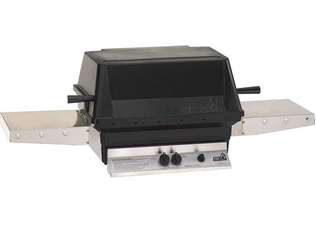 PGS Grills A40 Series Natural Gas Cast Aluminum Black BBQ Grill Head with Two Folding Shelves
