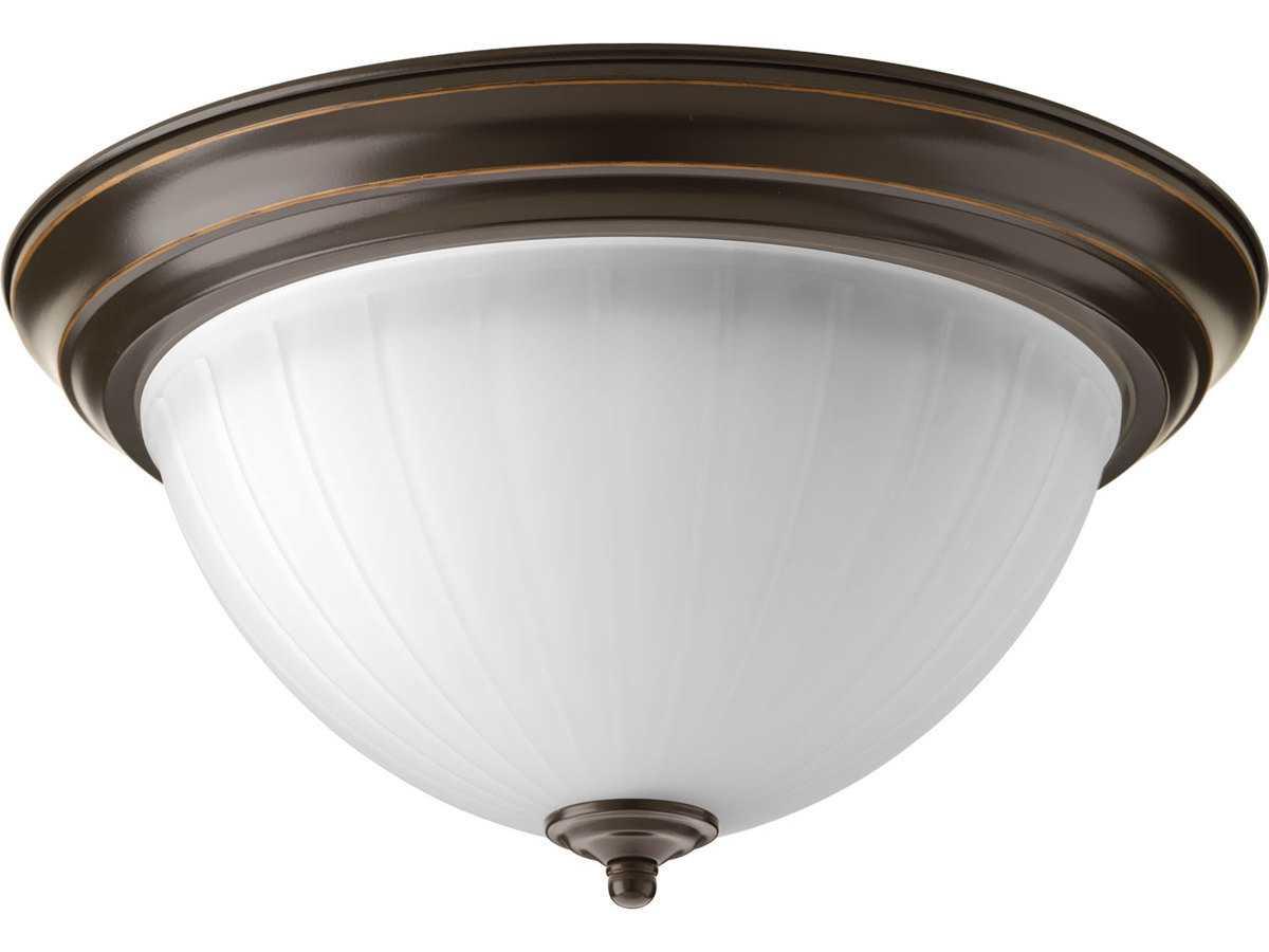 Portfolio 3 Light 22 In Brushed Nickel Bowl Vanity Light: Progress Lighting Antique Bronze & Etched Ribbed Glass LED