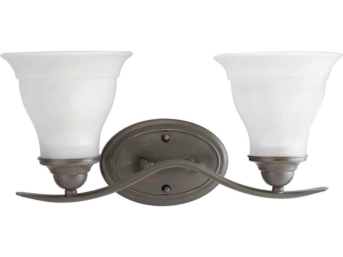 Cfl Vanity Light Bulbs : Progress Lighting Trinity Antique Bronze Two-Light Fluorescent Vanity Light PGLP319120EBWB