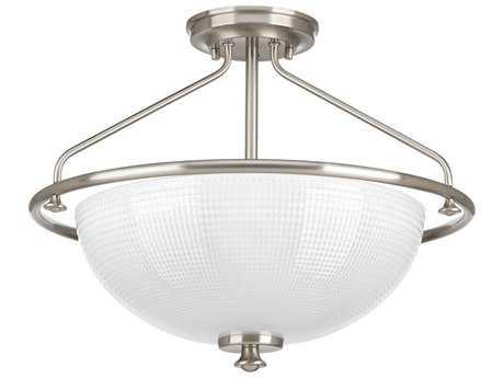 Progress Lighting Lucky Brushed Nickel Three-Light 16'' Wide Semi Flush Light / Pendant Light