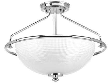 Progress Lighting Lucky Polished Chrome Three-Light 16'' Wide Semi Flush Light / Pendant Light