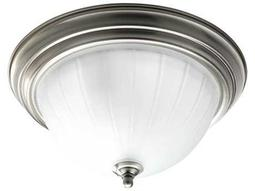 Progress Lighting Melon Glass Brushed Nickel Two-Light Fluorescent Flush Mount Light (Sold in 3)
