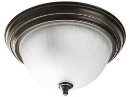 Progress Lighting Melon Glass Antique Bronze Two-Light Fluorescent Flush Mount Light (Sold in 3)