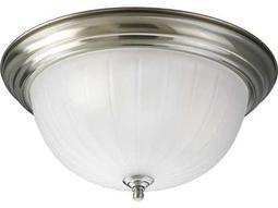 Progress Lighting Melon Glass Brushed Nickel Three-Light Fluorescent Flush Mount Light (Sold in 2)