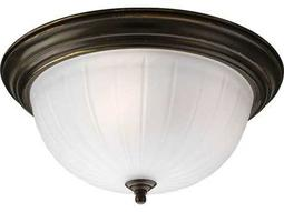 Progress Lighting Melon Glass Antique Bronze Three-Light Fluorescent Flush Mount Light (Sold in 2)