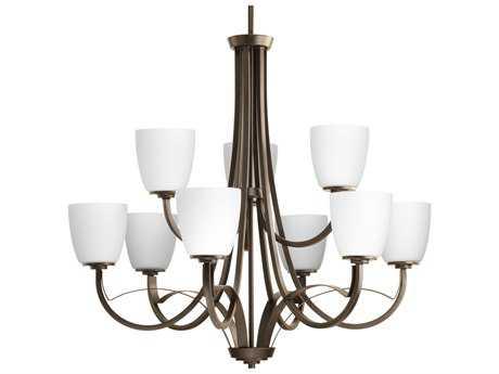 Progress Lighting Merge Antique Bronze 32'' Wide Nine-Light Chandelier