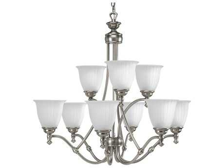 Progress Lighting Renovations Antique Nickel 30'' Wide Nine-Light Chandelier