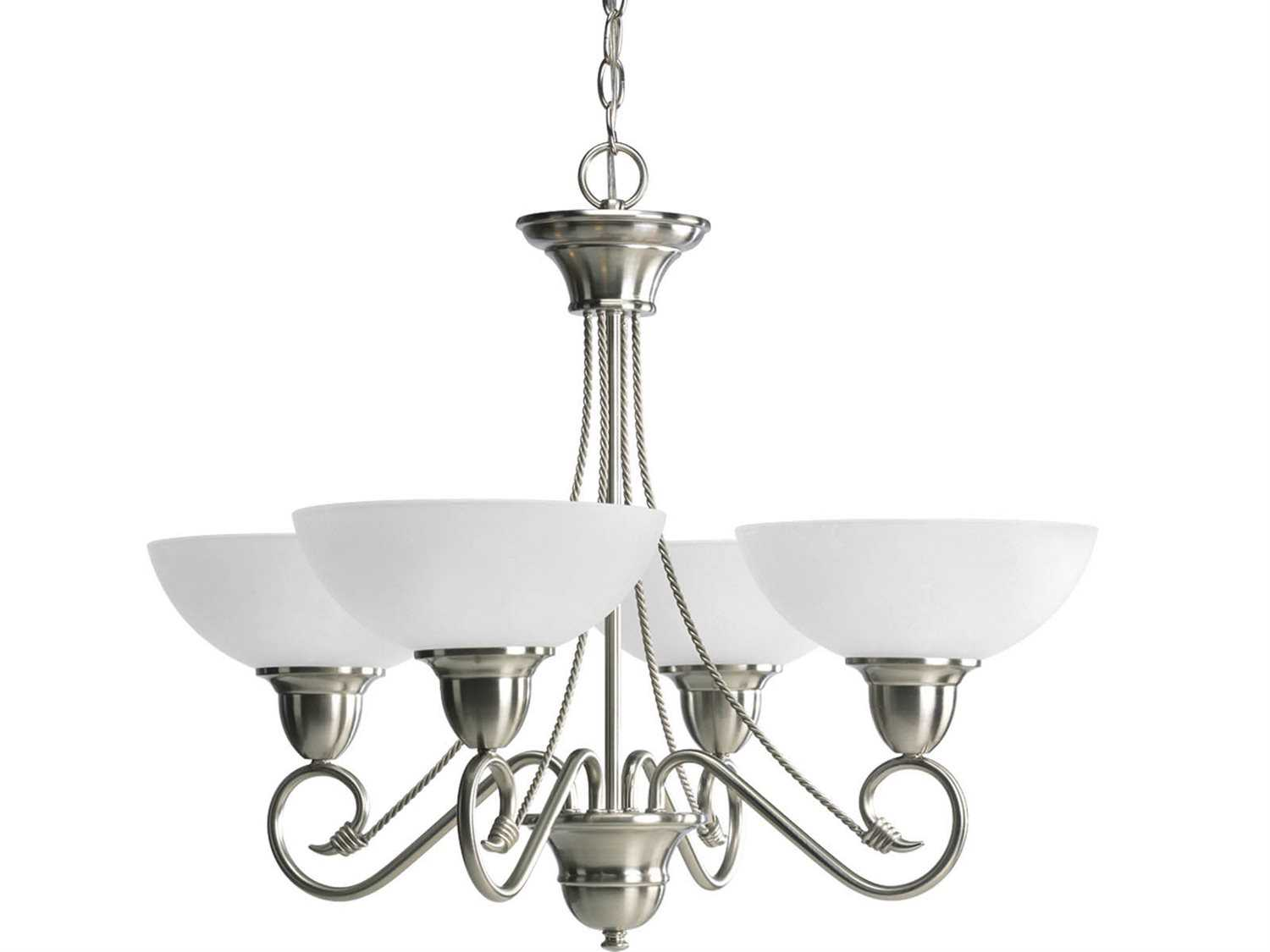 Progress Lighting Lucky Collection 4 Light Brushed Nickel: Progress Lighting Pavilion Brushed Nickel 28'' Wide Four
