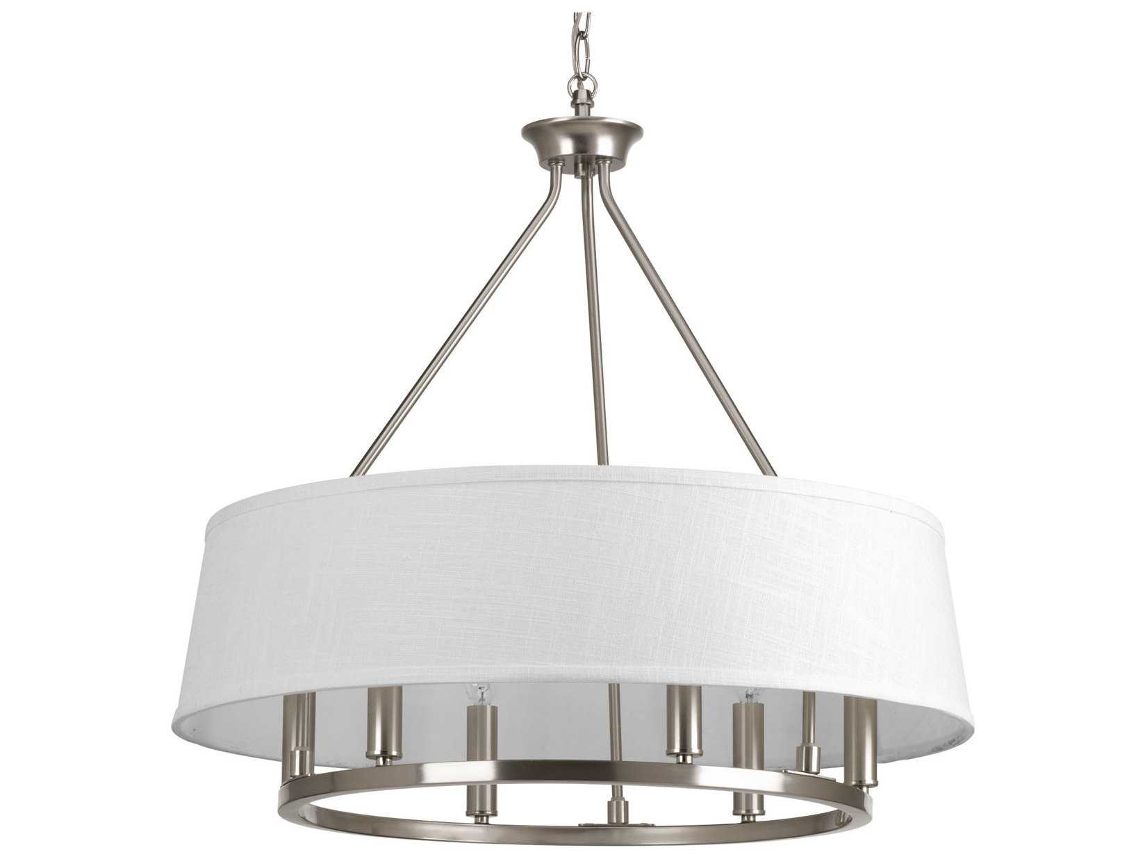 Progress Lighting Rizu Collection 3 Light Brushed Nickel: Progress Lighting Cherish Brushed Nickel Six-Light 24
