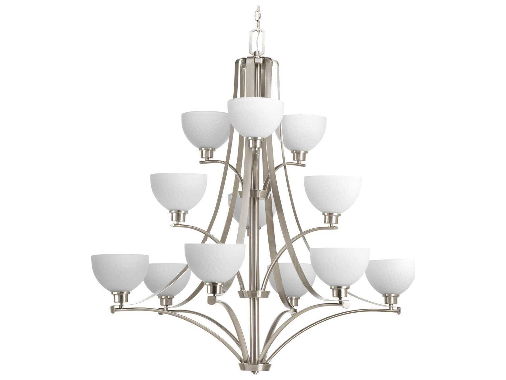Progress Lighting Rizu Collection 3 Light Brushed Nickel: Progress Lighting Legend Brushed Nickel 12-Light 44'' Wide