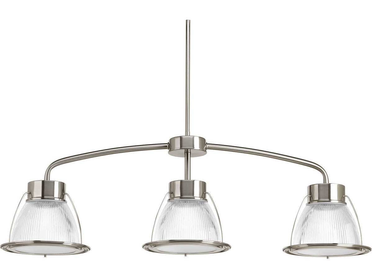 Progress Lighting Rizu Collection 3 Light Brushed Nickel: Progress Lighting Prismatic Glass Brushed Nickel Three