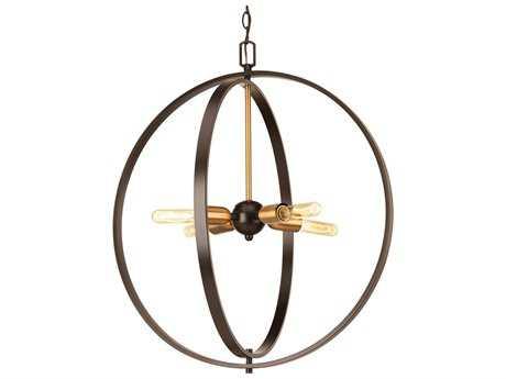 Progress Lighting Swing Antique Bronze Four-Light 25'' Wide Pendant Light