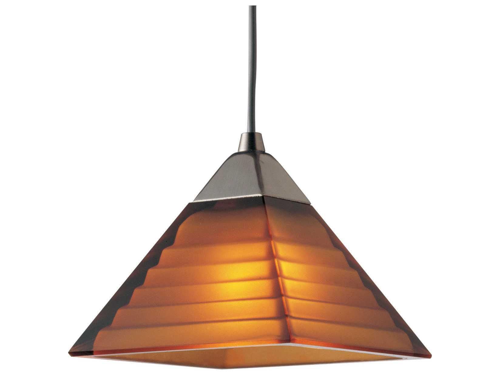Progress Lighting Illuma Flex Brushed Amber Glass Nickel Mini Pendant L