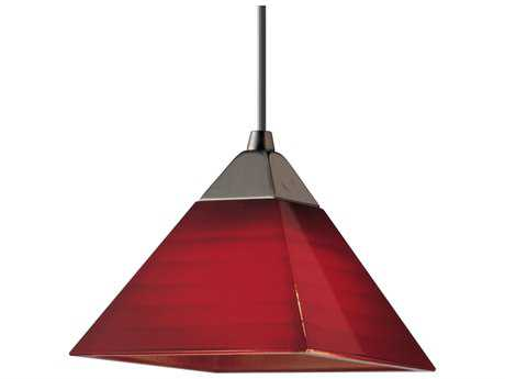 Progress Lighting Illuma-Flex Brushed Nickel & Red Glass Mini-Pendant Light